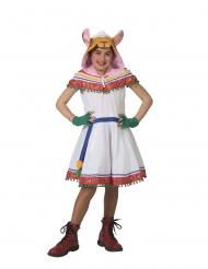 Peruanisches Lama-Kostüm für Mädchen Lama-Kleid für Kinder weiss