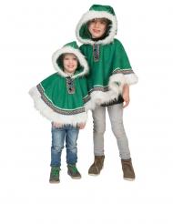 Eskimo-Ponchos für Kinder Faschings-Kostüme grün-weiss