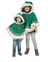 Eskimo-Kinderkostüm Poncho für Fasching warme Kostüme grün-weiss
