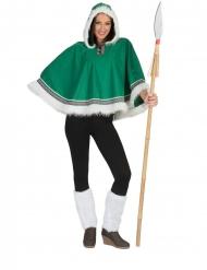 Eskimo-Kostüm Poncho Kostümzubehör für Fasching grün-weiss