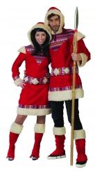 Eskimo-Verkleidung für Herren Inuit-Kostüm rot-weiss
