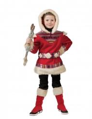 Warmhaltendes Inuit-Kostüm für Fasching rot-beige
