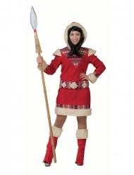 Kuscheliges Eskimo-Damenkostüm Faschings-Verkleidung rot-weiss