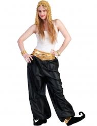 Orientalische-Damenhose Bauchtanz-Hose für Fasching schwarz-gold