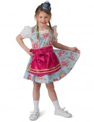 Bayrische-Verkleidung für Mädchen Dirndl-Kostüm blau-pink