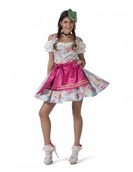 Bayrisches-Kostüm Dirndl-Verkleidung für Teenager blau-pink
