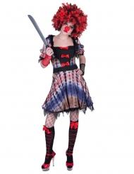 Furchterregendes Clown-Kostüm für Damen Halloweenkostüm violett