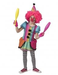 Spaßiges Clownkostüm für Fasching Mädchenkostüm in Regenbogenfarben