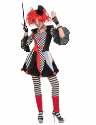 Kunterbuntes Harlekin-Kostüm Faschings-Verkleidung für Damen rot-schwarz-weiss