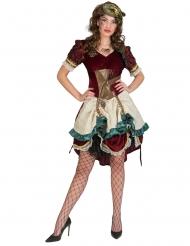 Steampunk-Kostüm viktorianische-Verkleidung für Damen rot-goldfarben