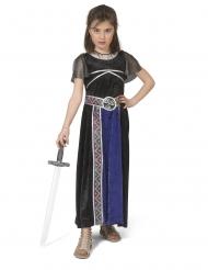 Kriegerin-Kostüm für Mädchen blau-schwarz-silber