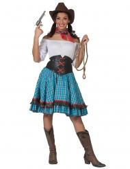 Cowgirl-Damenkostüm für eine Western-Party blau-braun