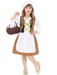 Süße Magd Mädchenkostüm für Karneval weiss-braun