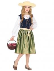 Mittelalter-Kostüm für Mädchen Dorfmädchen blau-weiß-grün