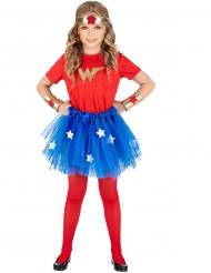 Superheldin-Kostüm für Mädchen rot-blau-gold