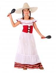 Mexikaner-Kostüm für Mädchen weiß rot