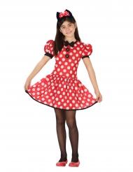 Mauskostüm für Mädchen gepunktetes Kleid für Fasching rot-weiss