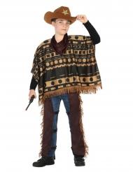 Poncho-Cowboy-Kostüm für Kinder Faschings-Verkleidung braun