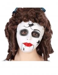 Schaurige Puppen-Maske für Halloween Accessoire für Erwachsene weiss-schwarz