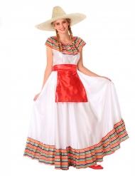 Mexikanisches-Kostüm für Teenager Mädchen-Verkleidung weiss-bunt