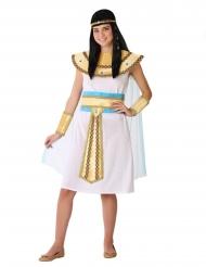 Ägyptische-Göttin antike-Herrscherin Teenager-Kostüm für Fasching weiss-gold
