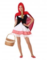 Rotkäppchen-Kostüm für Teenager Faschings-Verkleidung rot-weiss-schwarz