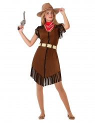 Cowgirl-Kostüm für Teenager Faschings-Verkleidung braun-rot