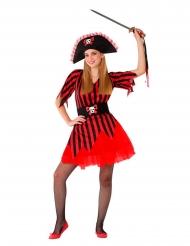 Piraten-Mädchenkostüm Seeräuberin für Fasching rot-schwarz