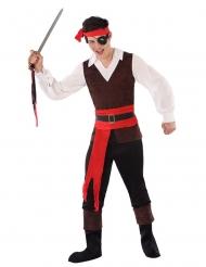 Piraten-Kostüm für Teenager Seeräuber-Verkleidung braun-rot-weiss