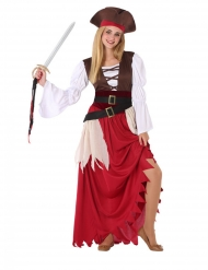 Piratin-Kostüm für Teenager Seeräuber-Verkleidung braun-rot-weiss