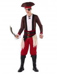 Piratenkostüm für Teenager Faschingskostüm für Jugendliche braun-weiss-rot