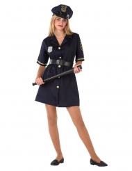 Polizei-Kostüm für Teenager Mädchen-Verkleidung für Fasching blau-gold