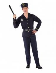 Polizei-Teenagerkostüm für Fasching Berufs-Verkleidung blau