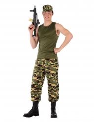 Militärsoldaten-Kostüm für Jugendliche Camouflage grün-braun