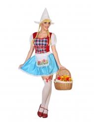Holländerin-Kostüm für Damen Faschingskostüm blau-rot