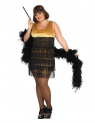 Charleston-Kostüm 20er-Jahre-Verkleidung in Übergröße schwarz-gold
