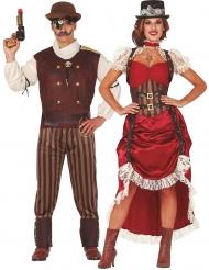 Steampunk-Partnerkostüm für Damen & Herren Faschings-Kostüm bunt
