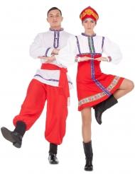Russische-Tänzer Partnerkostüm für Erwachsene rot-blau-weiss