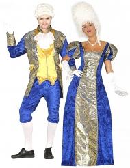 Barock-Paarkostüm für Erwachsene historische-Verkleidung blau-goldfarben