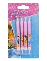 Disney™-Prinzessinnen-Kerze Backzubehör für Kindergeburtstage 4 Stück rosa 9 cm