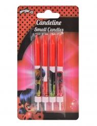 Ladybug™ Kerze für Torten Geburtstags-Deko Backzubehör 4 Stück rot 9 cm