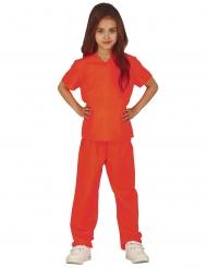Sträflings-Kostüm für Kinder Gefangenen-Verkleidung für Fasching orange