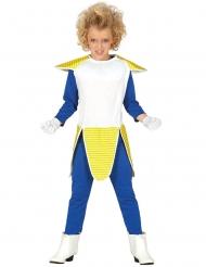 Anime-Kostüm für Kinder Bösewicht-Verkleidung blau-weiss-gelb