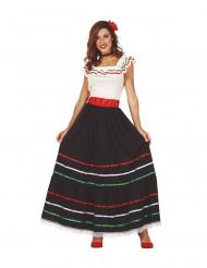 Mexiko-Damenkostüm Länder-Verkleidung für Fasching schwarz-weiss-rot