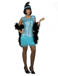 Glanzvolles Charleston-Kostüm für Damen 20er-Jahre-Verkleidung türkisfarben