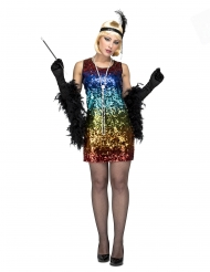 Charleston-Kostüm in Regenbogenfarben Faschings-Verkleidung 20er-Jahre