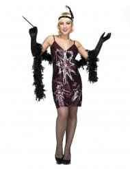 Bühnenreifes Charleston-Kostüm 20er-Jahre-Verkleidung lila-schwarz-silberfarben