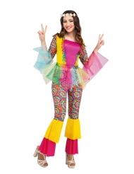 Stilvolles Hippie-Kostüm für Damen Faschings-Verkleidung mit Tüll bunt