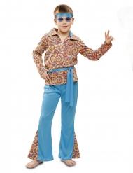 Hippie-Kostüm psychedelische-Verkleidung für Fasching blau-bunt