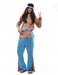 Psychedelisches 60er-Jahre Hippie-Kostüm für Herren blau-bunt